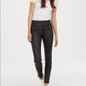 H&M Coated Black High Waisted Skinny Jean